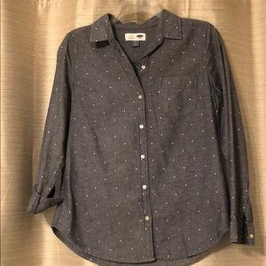 Polka Dotted Chambray Shirt